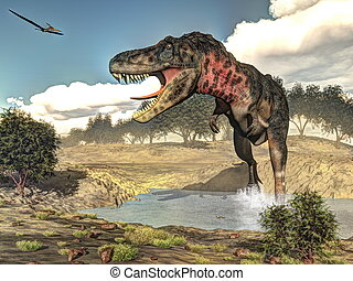 Tarbosaurus dinosaur - 3D render - Tarbosaurus walking while...