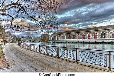 BFM, promenade and Rhone river, Geneva, Switzerland, HDR -...