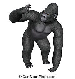 Angry gorilla - 3D render - Angry gorilla isolated in white...