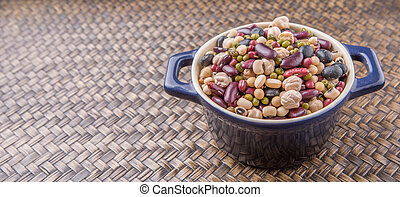 Mix Beans In Blue Pot - Mix bean of black eye peas, mung...