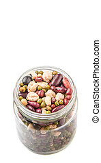 Mix Beans In Mason Jar - Mix bean of black eye peas, mung...