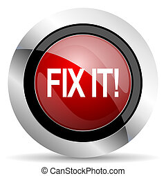 fix it red glossy web icon
