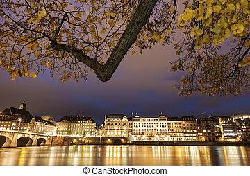 Basel architecture along Rhine Riveer Basel, Basel-Stadt,...