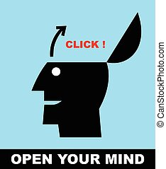 Open your mind. Open minded. - Simple flat icon of a person,...