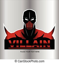 Great Red Villain isolated on metallic background. half body...