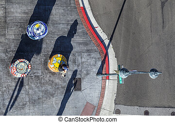 Aerial view to crossing Commerce Row with Carson Reno...
