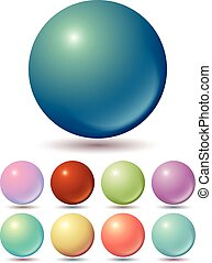 Set of muted color balls with unusual gradients
