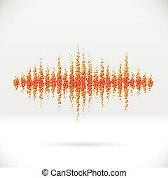 sonido, Forma de onda, hecho, de, DISPERSADO, pelotas,