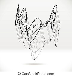 Abstract 3D wireframe shape with connected structure -...