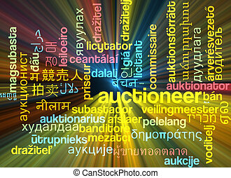 Auctioneer multilanguage wordcloud background concept...