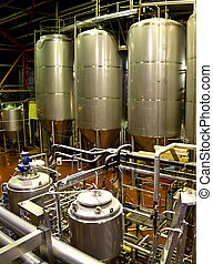 Brewery - View of the machinery and vats inside a brewery