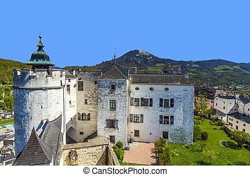 view to the old castle Hohensalzburg in Salzburg, Austria