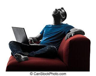 man Laughing  computer computing laptop