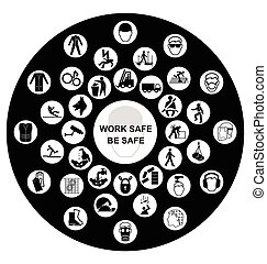 Circular Health and Safety Icon col - Black and white...