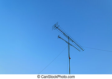 TV antenna and blue sky