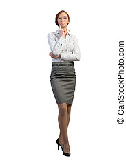 Thoughtful businesswoman - Full length image of thoughtful...