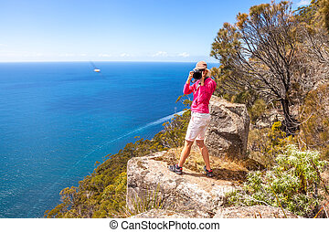 Travel photographer woman - Nature travel photographer woman...