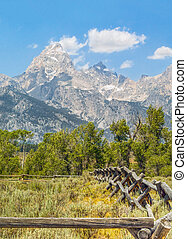 Rustic Fence and Tetons - A rustic rail fence leads the eye...