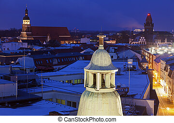 Cottbus architecture at night - Cottbus architecture at...