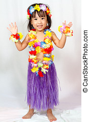 Aloha - Asian Chinese little girl in hawaiian costume