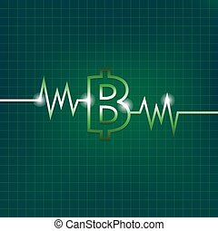 Baht sign concept with pulsation