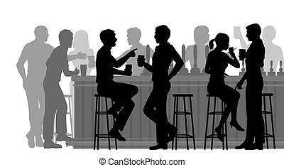 Busy bar - EPS8 editable vector cutout illustration of...