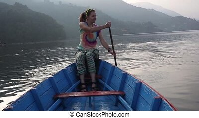 Girl traveling by boat
