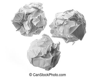 Collection of various paper ball on white background with...