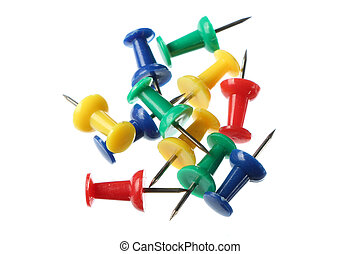 Push pins - Set of push pins in different colors isolated on...