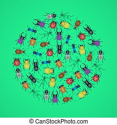 color bugs and beetles icons in circle eps10