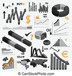 various infographics 3d graphs for your business or stock market eps10