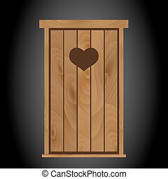 latrine toilet from wood with heart on doors eps10