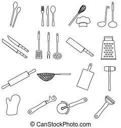 home kitchen cooking utensils outline icon eps10
