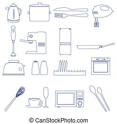 home kitchen outline icons theme set eps10