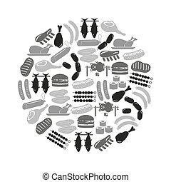 meat food icons and symbols set in circle eps10