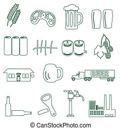 beer drink and pub simple outline icons eps10