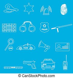 police whihe outline simple icons set eps10