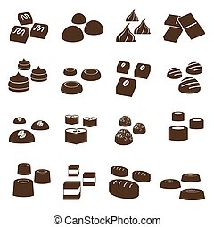 sweet chocolate truffles styles icons set eps10