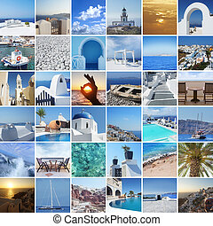Set of different Santorini photos. Rest and traveling in...