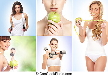 Sport, dieting, fitness and healthy eating concept
