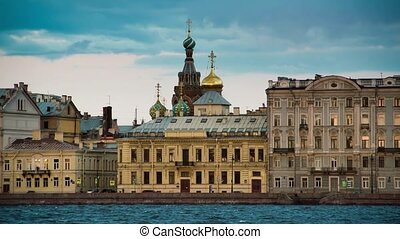 View Church of the Savior on Blood in Saint Petersburg from Neva river.