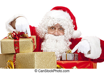 Santa Claus is hiding behind a stack of Christmas gift boxes...