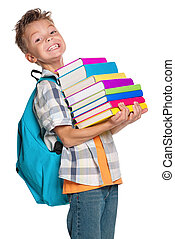 Back to school concept - Little boy with books isolated on...