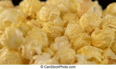 Popcorn, background, on black, close up, rotation - Popcorn...