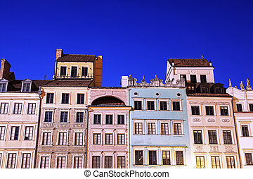 Market Place evening time - Old town - Warsaw, Poland