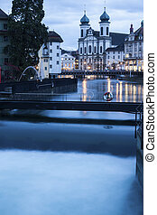 Jesuit Church and Reuss River in Lucerne