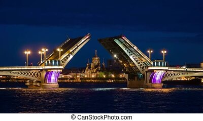 Night of Opening Palace bridge in St. Petersburg
