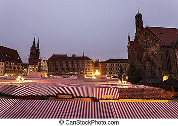 Christmas stalls on Hauptmarkt - Christmas stalls on...