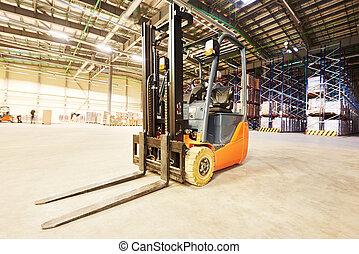 forklift loader stacker truck at warehouse - forklift loader...