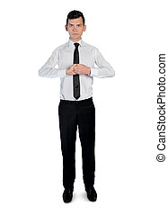 Business man ready position - Isolated business man ready...